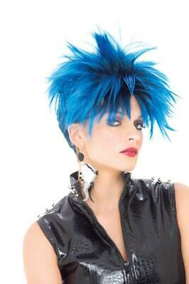 Punk Girl Blue & Black Adult Costume Wig One Size