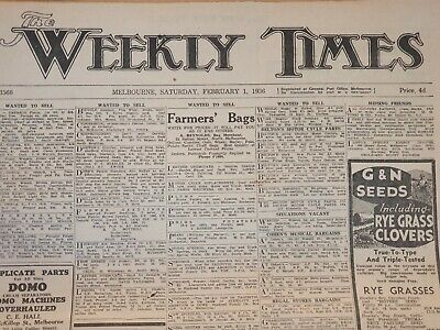 WEEKLY TIMES NEWSPAPER Melbourne - Saturday, February 1st, 1936