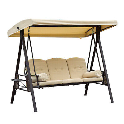 Outsunny Swing Chair Hammock 3 Seater With Canopy & Cushions-Beige