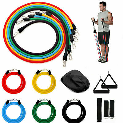 New RESISTANCE BANDS WORKOUT EXERCISE YOGA 11 PIECE SET CROSSFIT FITNESS TUBES*