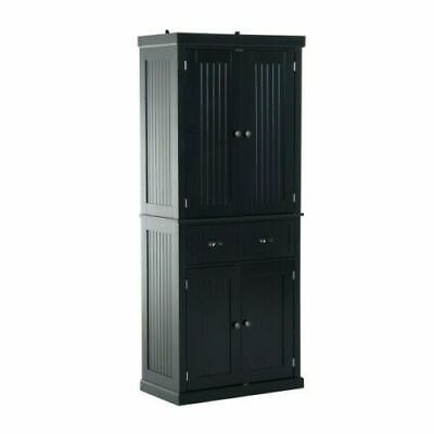 Free Standing Kitchen Pantry Tall Cabinet Storage Unit Cupboard Larder Black