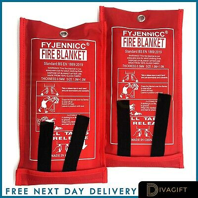 2 PACK Fire Blanket Quick Release Home & Office Safety Large In Case 1m X 1m RED