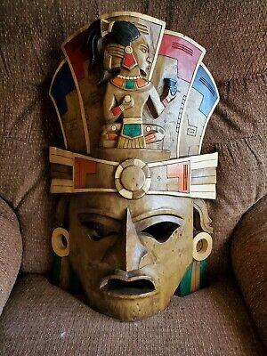 """Large Hand Carved Wooden Egyptian Mayan Tribal  Mask Wall Hanging 21"""" tall  NICE"""