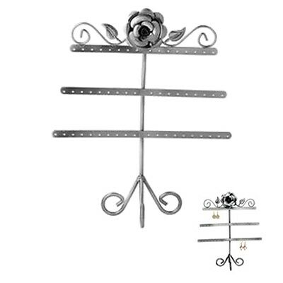 Rose & Leaf 3-Tier Antiqued Silver Steel Earring Tree Jewelry Display Stand