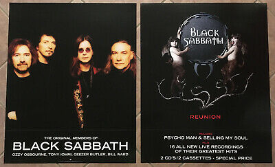 Ozzy Osbourne BLACK SABBATH Rare 1999 DOUBLE SIDED PROMO POSTER for Reunion CD