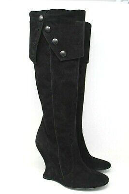 NEW BCBGMAXAZRIA Suede Fold Over Knee High Wedge Boot in Black - 40 EUR, 10 US