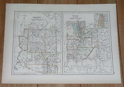 1889 Original Antique Map Of Arizona And Utah