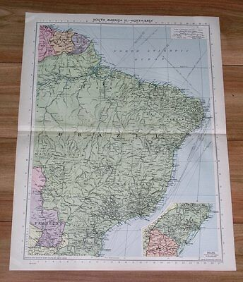 1940 Original Vintage Wwii Map Of Brazil / South America