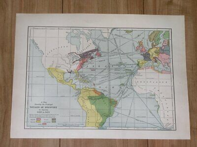1936 Vintage Map Voyages America Discovery Columbus Verazzano Europe 1200 A.d.