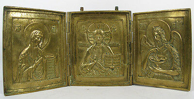 Huge Antique Russian Orthodox Brass Enamel Icon Triptych Plaquette Deisis Christ