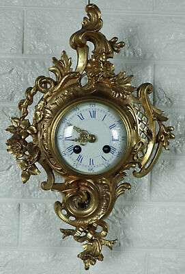 Japy Frères Wall Clock Solid Brass Gold Plated 38cm High Antique