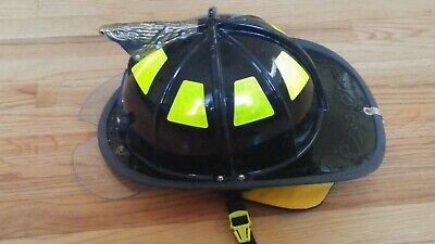 CAIRNS FIREFIGHTER HELMET 1010 Black Used Good Condition Bourkes/Eye Protection