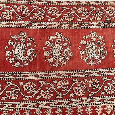 Vintage Block Printed  Kalamkari Floral Wall Hanging red fabric Indian pattern