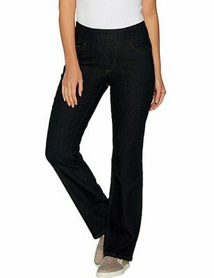 Denim & Co Black Denim Pull On Smooth Waist Bootcut Jeans