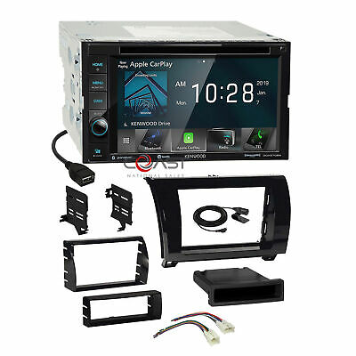 Kenwood DVD Carplay Stereo Gloss Dash Kit Harness for 07+ Toyota Tundra Sequoia