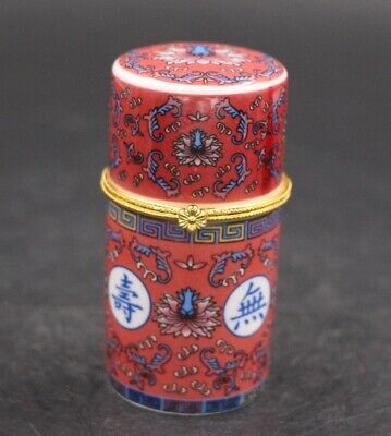 Chinese Porcelain Red Flower Toothpick Box Holder Storage Lucky Jewelry Box