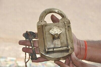 Old Brass Big Solid Handcrafted Customs Department Unique Heavy Padlock