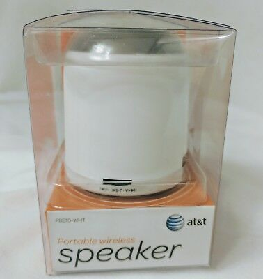 AT&T Portable Bluetooth Speaker with 30' Range, white New in Package