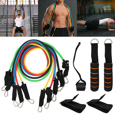 11PC Yoga Pilates Resistance Band Set Abs Exercise Fitness Tube Workout Bands