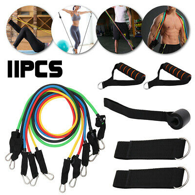 11PC Resistance Exercise Band Set Yoga Pilates Abs Fitness Tube Workout Bands