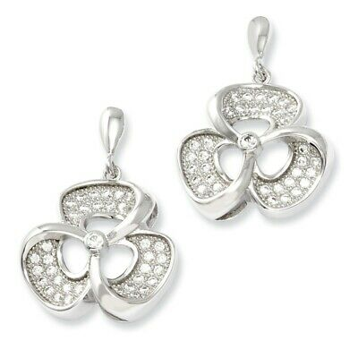 FB Jewels Solid Sterling Silver /& CZ Cubic Zirconia Brilliant Embers Circle Post Earrings