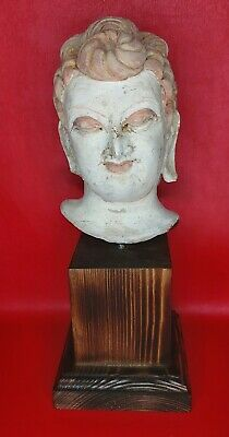 Gandhara,Roman,Stucco Female Head Fragment Terracotta 200 300Ad From Afghanistan