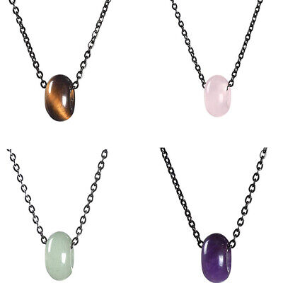 Hot Peace Button Stone Pendant Energy Crystal Healing Beads Necklace Gift
