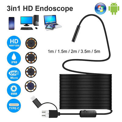 3 in 1 USB Type-C Endoscopes Inspections Borescope 5.5/7/8mm Lens HD Camera IP68