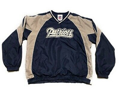 Retro New England Patriots All Embroidered Pullover Warmup Windbreaker Jacket