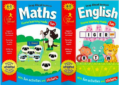 English And Maths Leap Ahead Learning Workbooks Age 4-5