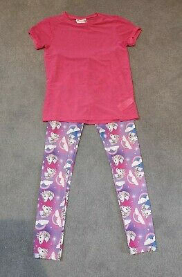 Emoji Sports Leggings And T Shirt. 10-11 years. Tesco. Unicorn. Pink.