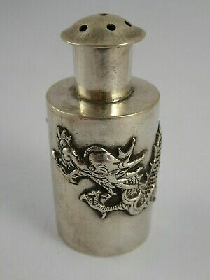 SUPERB ANTIQUE CHINESE EXPORT SOLID SILVER DRAGON PEPPER POT c1900 37g WANG HING