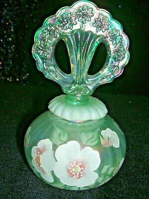 Fenton   Art Glass Hand Painted & Signed  #108    Perfume Bottle With Stopper