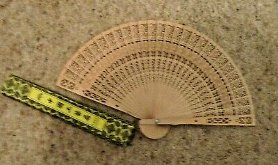 Chinese Folding Bamboo Original Wooden Carved Hand Fan  New with box
