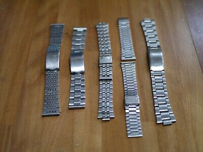 NOS Vintage 60s Japan Men's Stainless Steel SS Seiko Citizen Watch Band Lot of 5