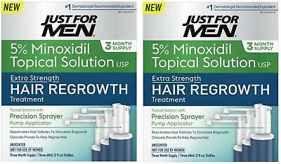 Just for Men 5% Minoxidil Topical Hair Loss Regrowth System **NEW**  (2-PACK)