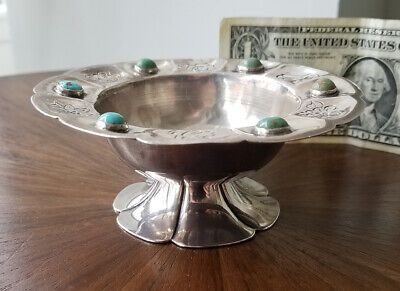 Old SANBORNS Mexican Sterling Silver Turquoise Footed Bowl-Spratling Era-160g