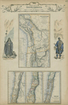 West Coast of South America. Chile, Bolivia & Peru. SWANSTON 1860 old map