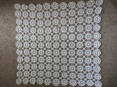 """Mid 20Th Century Hand Crochet Cream Square Tablecloth 32""""X 32"""" Approx"""