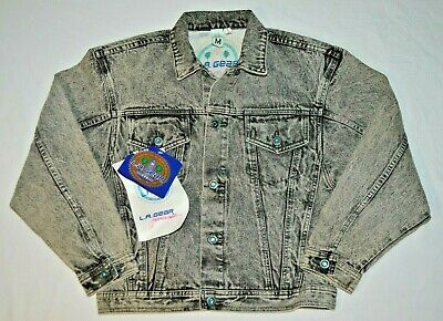 Vintage L.A. Gear Gray Acid Wash Denim Jean Jeweled Button Jacket Womens M NOS