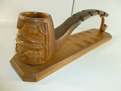 Pipe Holder Display Stand Hand Carved Hawiain Scene Vtg Walnut Wood Tobacco