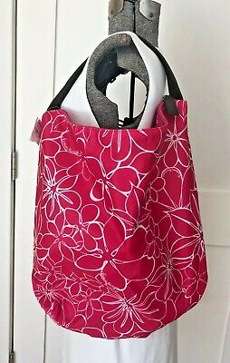 NWT Neiman Marcus Large Hot Pink Floral Nylon Shopping Tote Bag Purse Logo