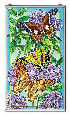 """Amia Stained Glass 13"""" X 23"""" Suncatcher Transition Butterfly Window Panel #5317"""