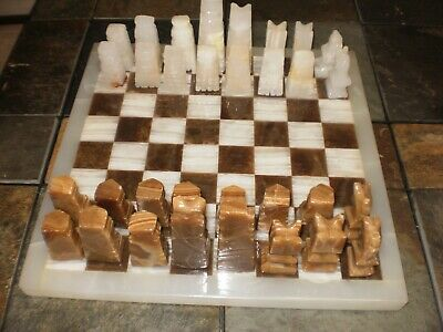 Vtg 1960's Hand Carved Aztec Mayan Chess Set - Mexico Marble / Onyx
