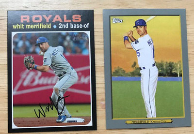 Whit Merrifield 2 Cards 2020 Topps Turkey Red TR-40 & 2020 Heritage #118 Royals