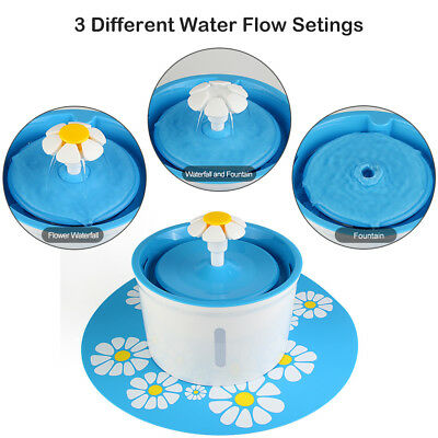 54Oz AUTOMATIC CAT DOG WATER DRINKING FLOWER FOUNTAIN PET BOWL DRINK DISH FILTER