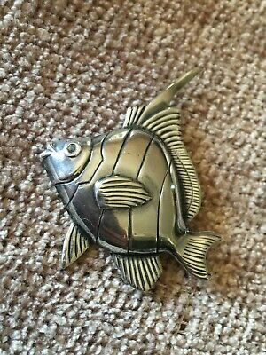 ESTATE VTG 925 Sterling Silver Tropical Angel Fish Brooch Pin Ocean Beach FISHER
