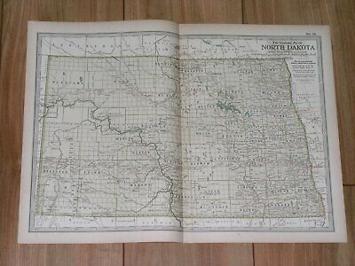 1897 Original Antique Map Of North Dakota