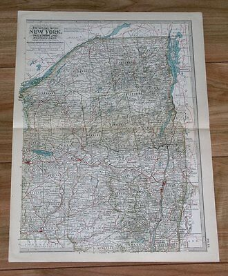 1911 Original Antique Map Of Northern New York State / Albany Lake Champlain