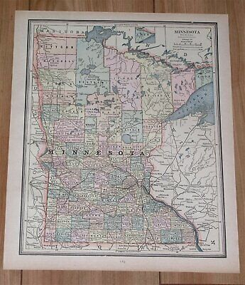 1890 Original Antique Map Of Minnesota / Verso North Dakota